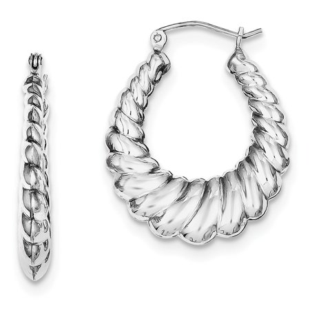 JewelryWeb - Sterling Silver Hollow Hinged Polished Rhodium-plated Shrimp Hoop Earrings - 3.0 Grams - Walmart.com