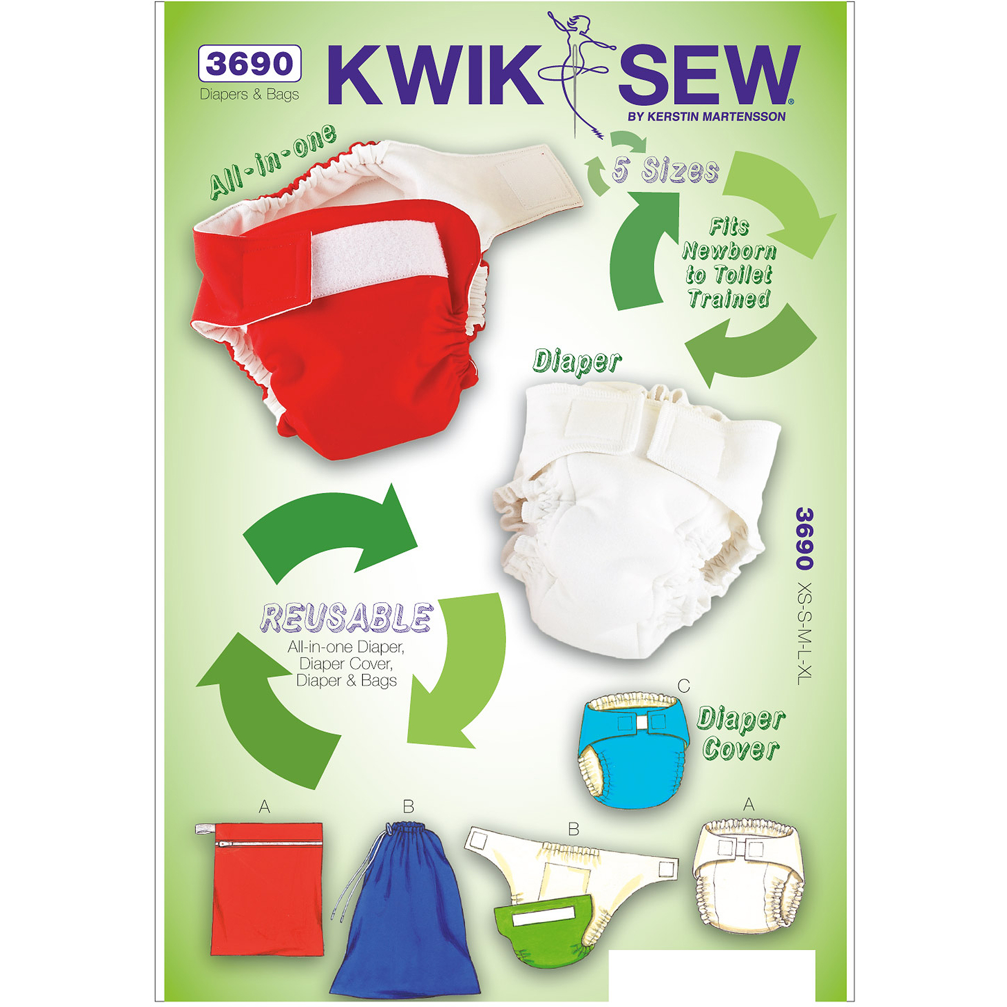 Kwik Sew Pattern Diapers, Diaper Cover, Insert and Bags, (XS, S, M, L, XL), Bag Sizes: (S, M, L)