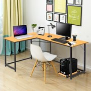90 L-Shaped Desk Corner Latop Computer PC Table w/ CPU Stand Study Office Home Workstation Wood