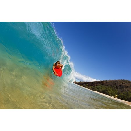 Hawaii Maui Makena - Big Beach Young Man Boogie Boarding On Beautiful Wave (Best Boogie Boarding Maui)
