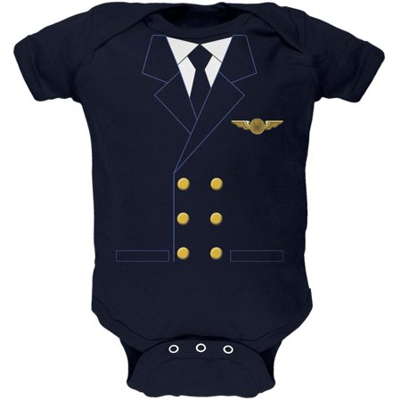 Halloween Airline Airplane Pilot Navy Soft Baby One Piece](Be A Baby For Halloween)
