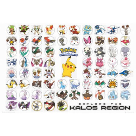 Pokemon - TV Show / Gaming Poster / Print (Character Collage - Pikachu & Friends) (Explore The Kalos Region) (Size: 36
