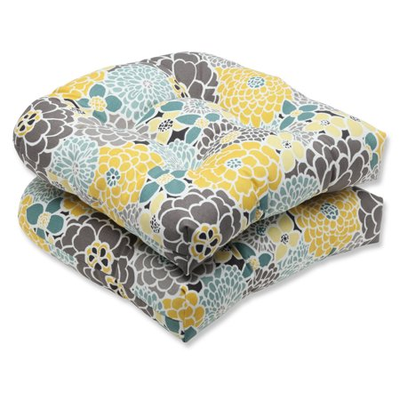 Set of 2 Yellow, Blue and Gray Flor Grande Decorative Outdoor Patio Wicker Chair Seat Cushions 19