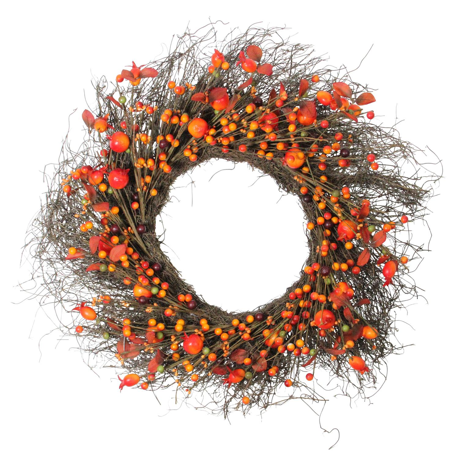 "24"" Autumn Harvest Artificial Berries, Twigs and Leaves Rustic Thanksgiving Wreath - Unlit"