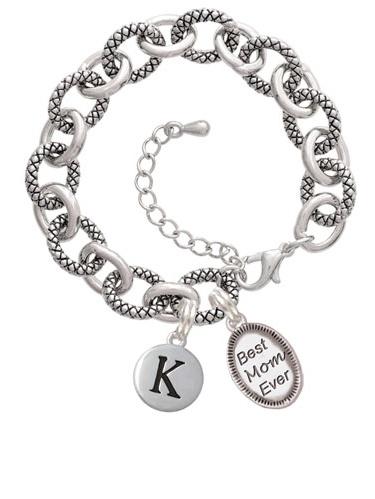 Best Mom Ever Oval T Pebble Initial Diana Bracelet