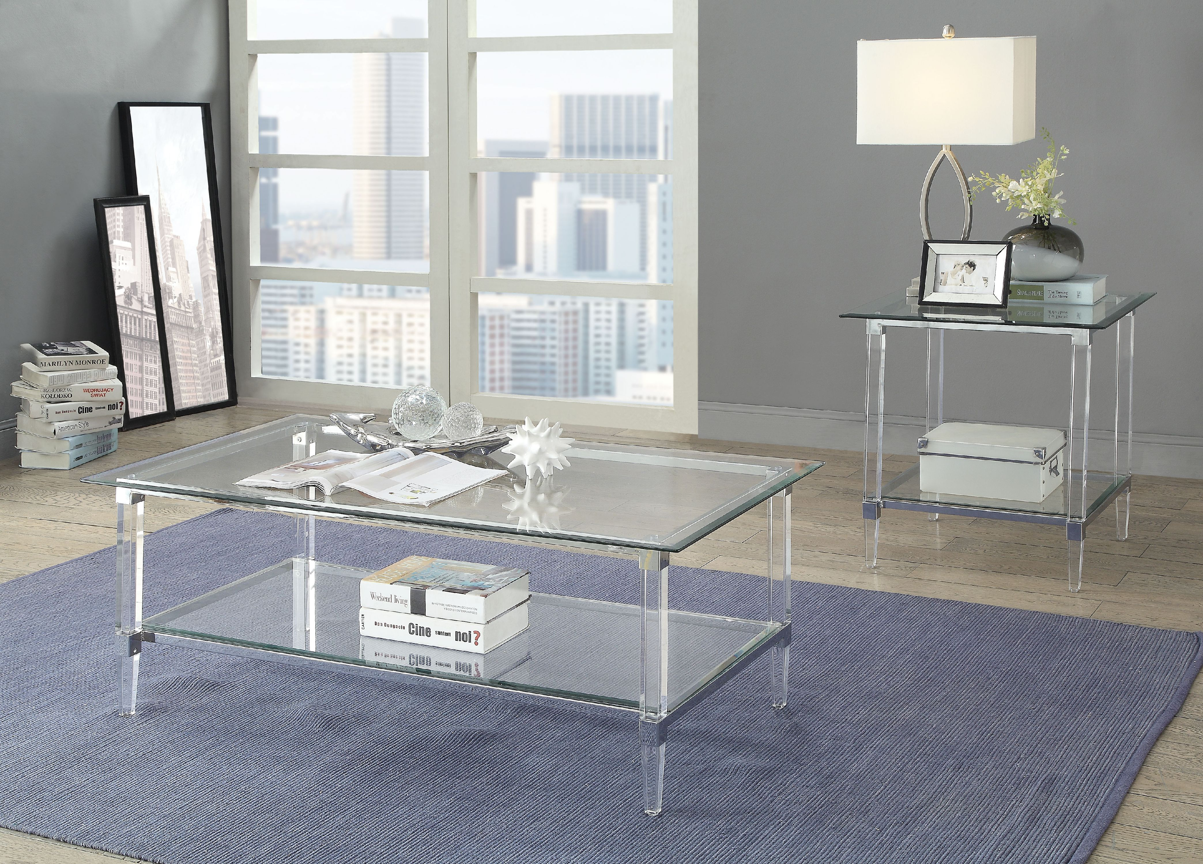 ACME Polyanthus Coffee Table in Clear Acrylic and Glass - Walmart.com - Walmart.com