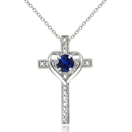 Sterling Silver Created Blue Sapphire & Diamond Accent Cross Heart Necklace Diamond Sapphire Heart Necklace