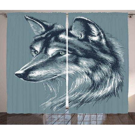 Latitude Run Crutchfield Animal Wild Timber Wolf Portrait Hunter Exotic Creature Mystery Mammal Artsy Graphic Graphic Print   Text Semi Sheer Rod Pocket Curtain Panels  Set Of 2