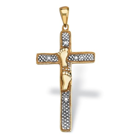 Diamond Accented Footprints Cross Pendant in 18k Gold over Sterling - 18k White Gold Diamond Pendant