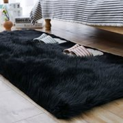 Tayyakoushi Faux Sheepskin Fur Area Rugs,Luxury Fluffy Long Rugs Furry Carpet Plush Seat Pad Sofa Cover Bedside Floor Mat for Bedroom, 2.3ft x 5ft,Black