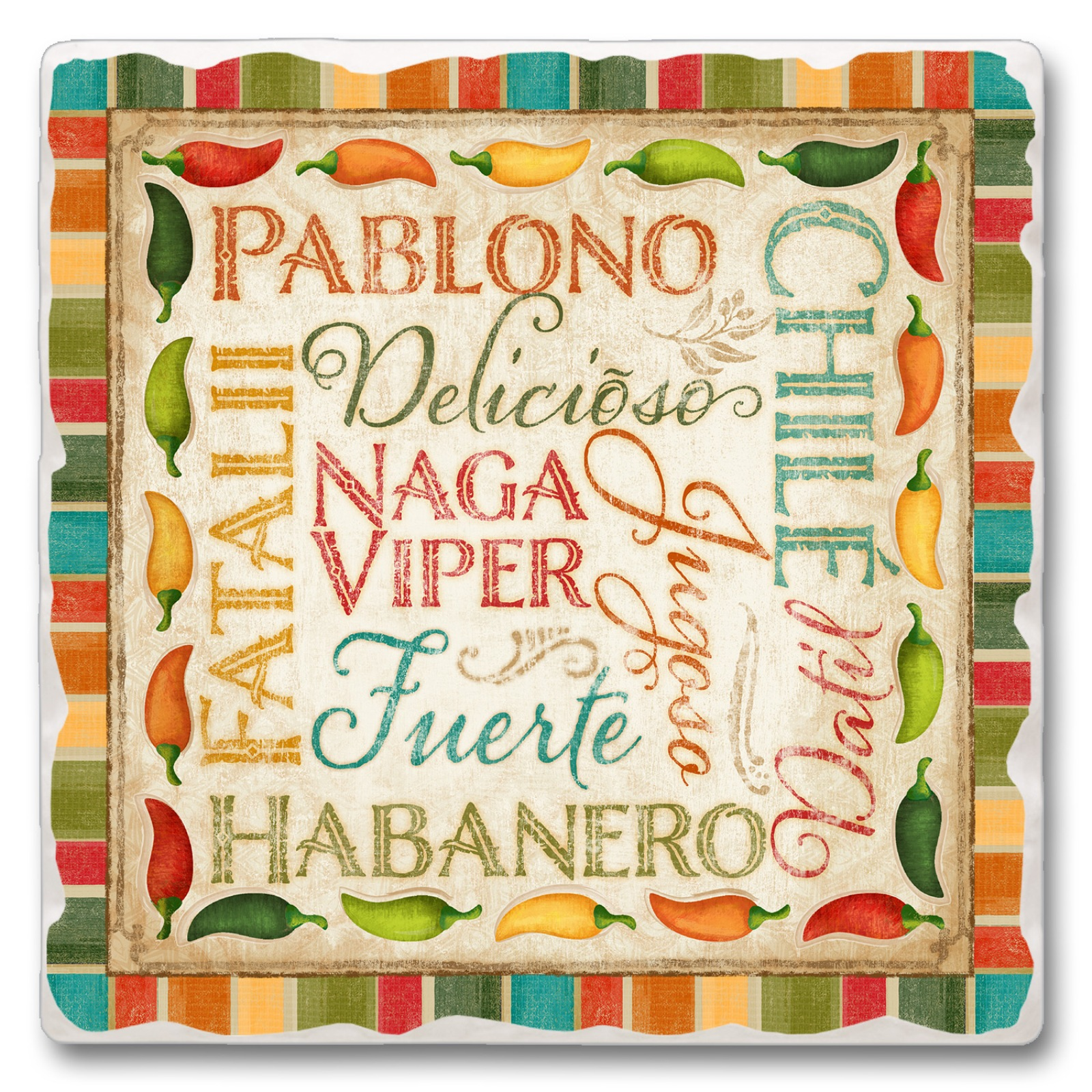 Habanero Chile Pablono Fiesta Peppers Kitchen Dining Room Absorbent Stone Trivet