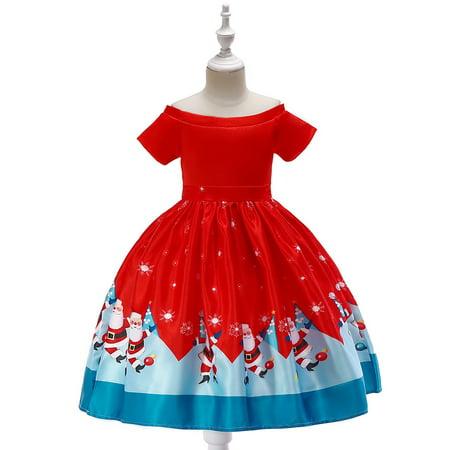Iuhan Toddler Kids Baby Girls Santa Print Princess Dress Christmas Outfits Clothes