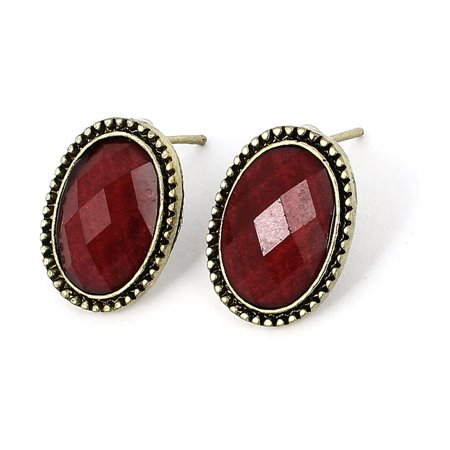 Pair Oval Style Ear Decor Ear Pin Stud Earrings Red Bronze Tone for (Style Ear Pin)