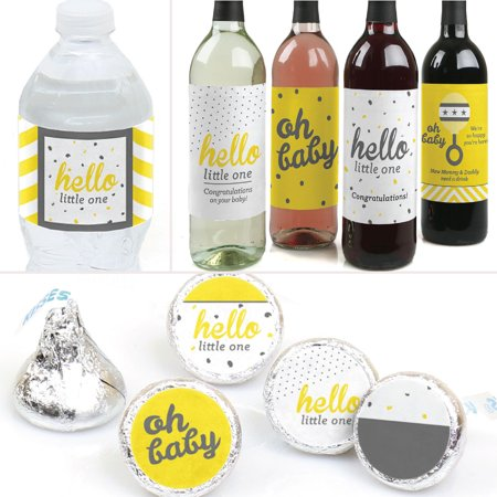 Hello Little One - Yellow and Gray - Neutral Baby Shower Decor & Favors Kit -Wine, Water & Candy Labels Trio Sticker Set