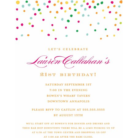 Gold Dots Standard Birthday Invitation