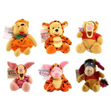 Disney Bean Bag Plush - POOH HALLOWEEN SET OF 6 (2 Pooh, 2 Tigger, Eeyore & Piglet) - My Friends Tigger And Pooh Piglet