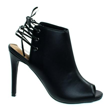Berlin53 Black by Wild Diva, Peep Toe Mule Bootie w Open Black Corset Lace, Dress -