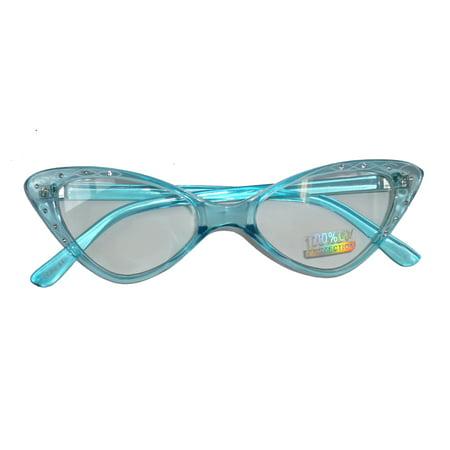 Rhinestone 1950s Retro Cat Eye Glasses SG1850T/38 - Sapphire (1950s Glasses Frames)