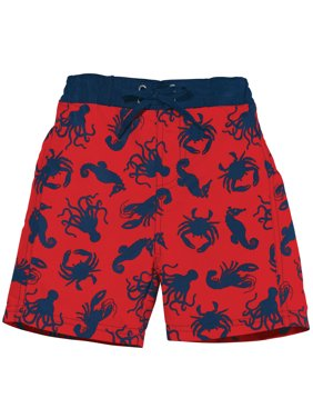 Sun Smarties Boys Swim Shorts - Red Sealife Design - Mesh-Lined Boardshorts Swimwear Trunks