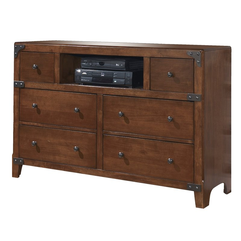 Ashley Delburne 6 Drawer Wood Media Double Dresser in Brown by Ashley Furniture