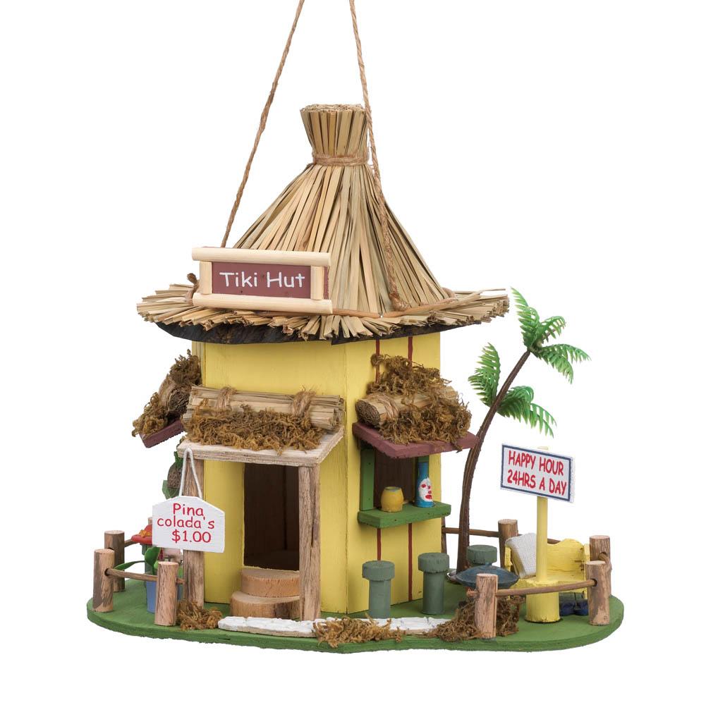 Birdhouses, Small Decorative Wooden Birdhouse Hummingbirds Yellow Tiki Hut by Songbird Valley