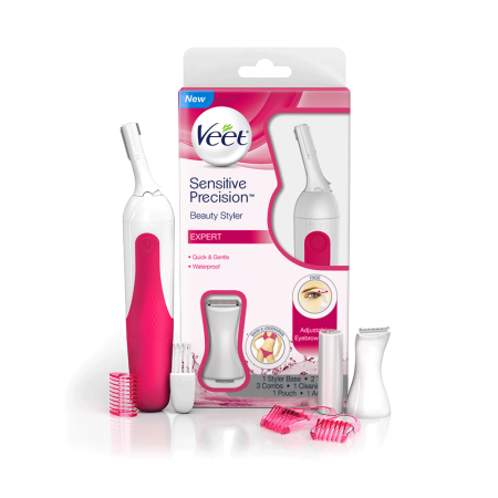 Veet Sensitive Precision Hair Trimmer and Shaper for Eyebrows, Facial Hair, Bikini Line, and