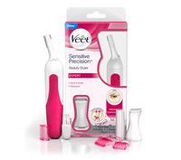 Veet Sensitive Precision Hair Trimmer & Shaper for Eyebrows, Facial Hair, Bikini Line, and Underarm, Bag & Battery Included