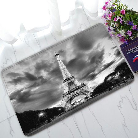 PHFZK City Landmark Doormat, Paris Eiffel Tower Black and White Doormat Outdoors/Indoor Doormat Home Floor Mats Rugs Size 30x18 inches ()