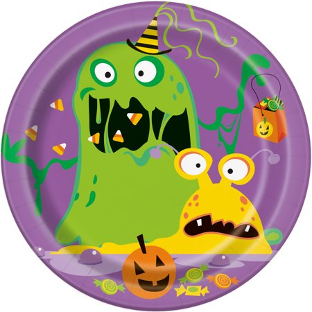 Unique Industries Silly Monsters Halloween Paper Plates, 7 In, 8 Count
