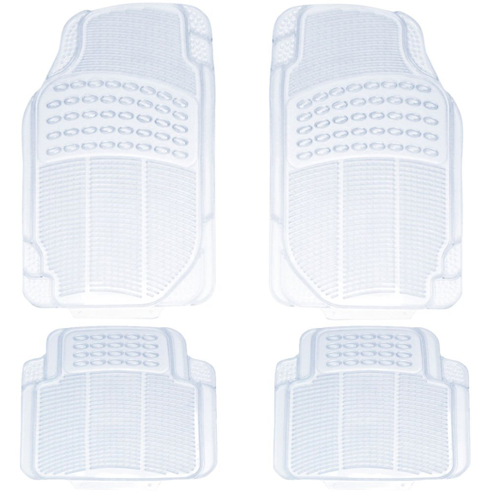 4pc Car Truck Suv Clear WaterProof Trans Rubber Floor Mats Front & Rear Full Set by LavoHome