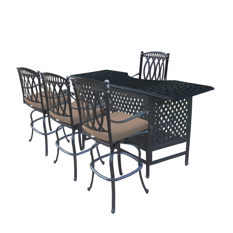 5-Piece Black Morocco Aluminum Patio Outdoor Swivel Chair Bar Set w/ Sunbrella Cushions