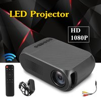 HD 1080P Portable Mini LED Projector with Remote Control with 30000 Hours Lamp Life Portable LED Projector 1920 x 1080 Pixels 800:1 Contrast for Home Family Film Movie Time