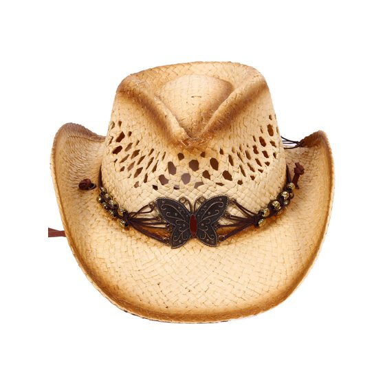 Children's Cowboy Hat with Rolled Brim, Beaded Leather Band, KST-005