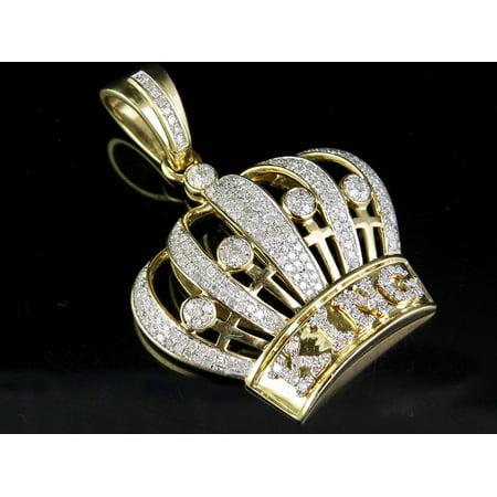 Diamond Crown Charm - Men's 10K Yellow Gold Real Diamond King Crown Royal Pendant Charm 1 3/8 Ct 1.75