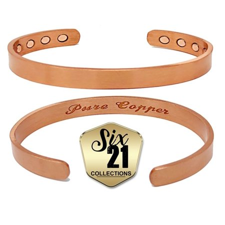 Brushed Magnetic Copper Bracelet For Arthritis Relief Pure 8 Magnets Adjule Bangle