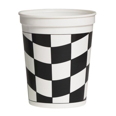 Club pack of 24 Black and White Decorative Stadium Checkered Disposable Cups 16oz - Stadium Cups