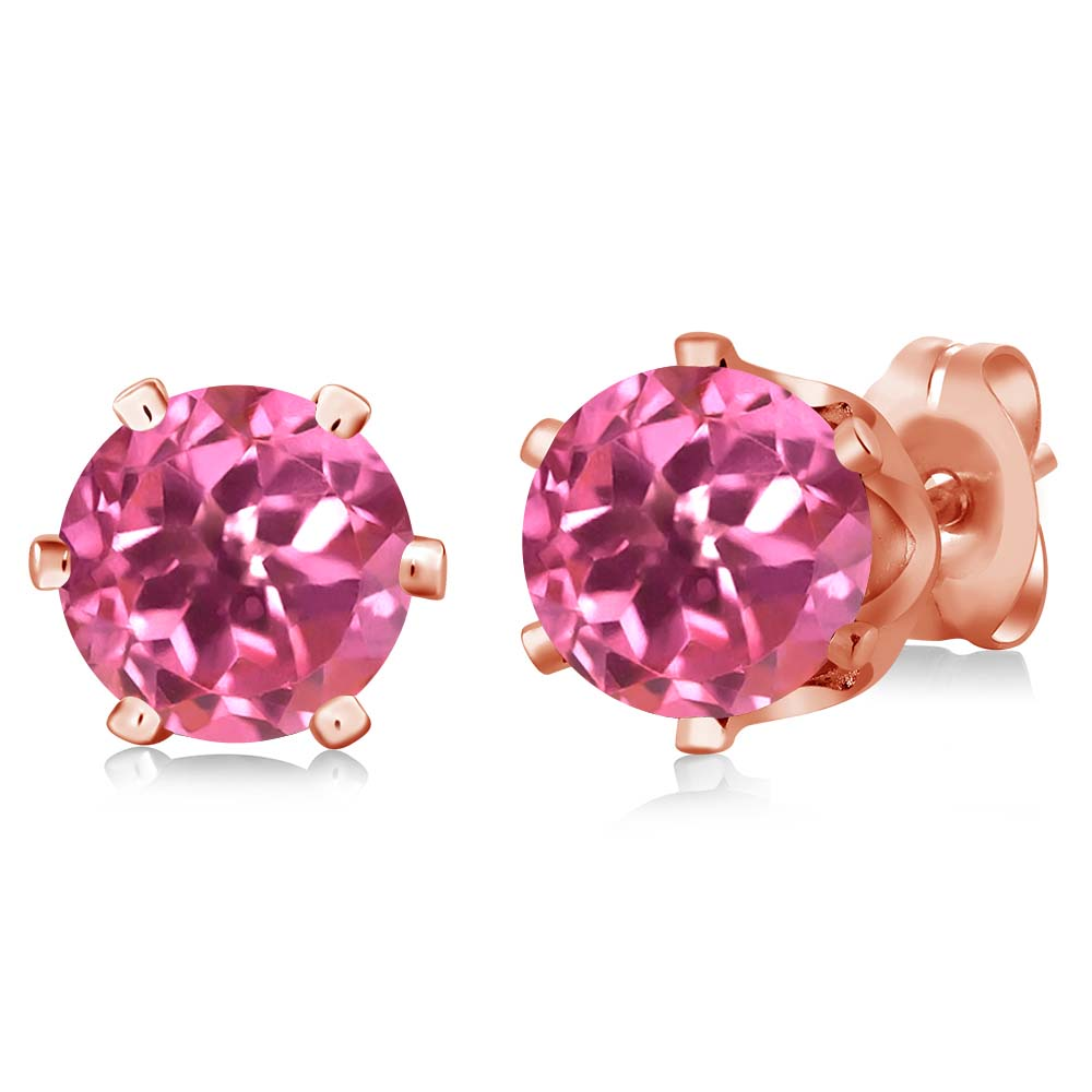 2.00 Ct Round Pink Mystic Topaz Gold Plated 6-prong Stud Earrings 6mm