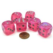 Chessex Borealis 20mm Big D6 Dice, 6 Pieces - Pink with Silver Pips #DB2014