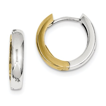 10k Yellow Gold Two Tone Hinged Hoop Earrings Ear Hoops Set Gifts For Women For Her