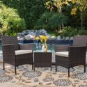 Walnew 3-Piece Outdoor Patio Furniture with Cushioned Tempered Glass