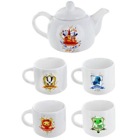 Harry Potter Hogwarts Mini Teapot and 4 House Mini Mugs