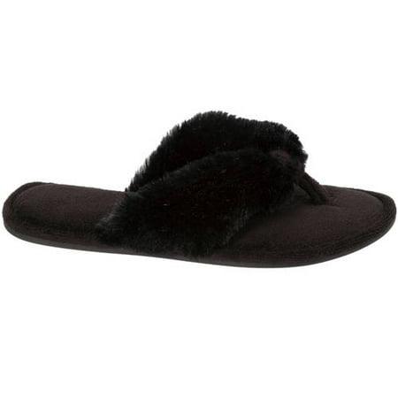 separation shoes 8b811 b5b3c Dearfoams Womens Pile Thong Slippers, Black, X-Large 11-12