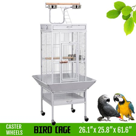 "Topeakmart 61"" Parrot Cage Finch Cage Pet Supply with Play Top White"
