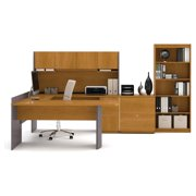Bestar Executive U-Shaped Workstation with Hutch
