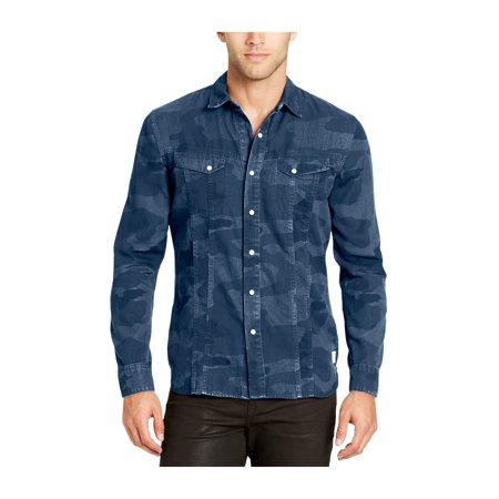 1723cb0a2b00d William Rast Mens Denim Camo Button Up Shirt indigo M - image 1 of 1 ...