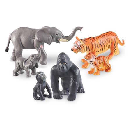 Learning Resources Jumbo Jungle Animals: Mommas and Babies, Momma and Baby Elephant, Momma and Baby Gorilla, and Momma and Baby Tiger, 6