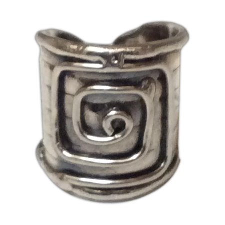Handcuff Ring (Silver-Tone Metal CUFF RING, Squared Spiral Design, One Size, by)