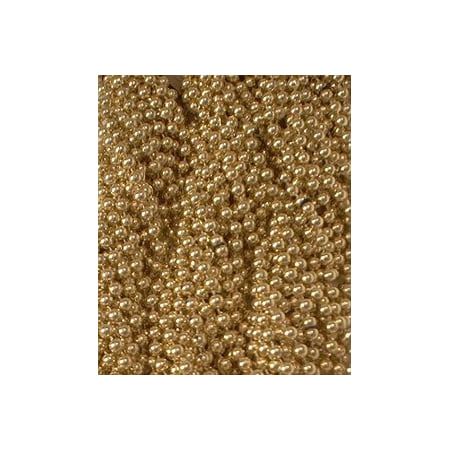 72 Gold Mardi Gras Gra Beads Necklaces Party Favors 6 Dozen - Mardi Gras Party Favors