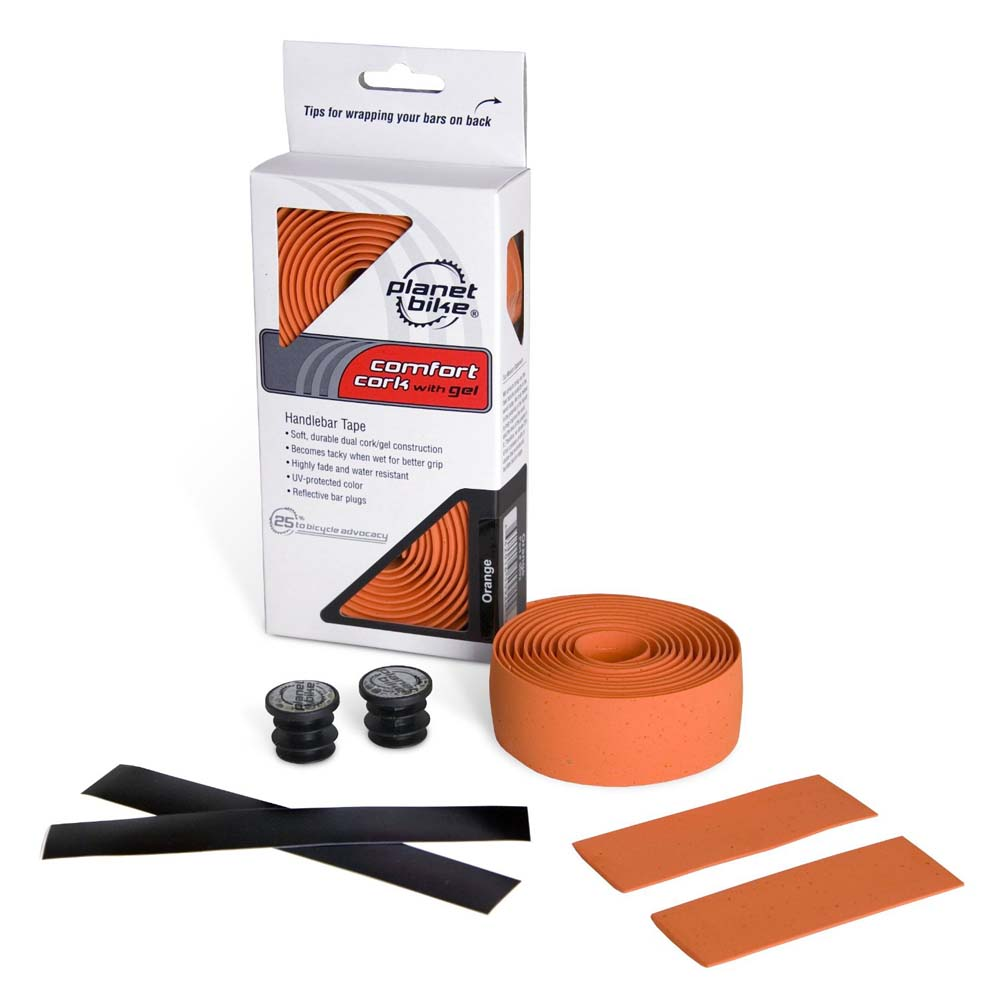 Planet Bike Handlebar Tape ORANGE Comfort Cork with Gel (Reflective Bar Plugs)