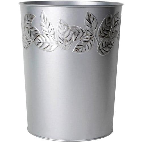 Mainstays Silver Leaves Wastebasket
